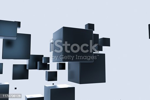 istock Dark cubes randomly distributed in the air, 3d rendering. 1174706128