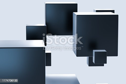 istock Dark cubes randomly distributed in the air, 3d rendering. 1174706133