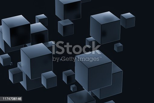 istock Dark cubes randomly distributed in the air, 3d rendering. 1174706146