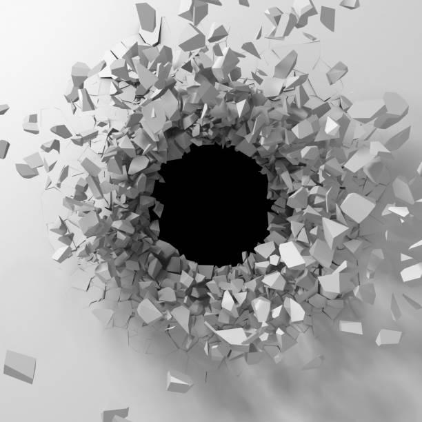 Dunkle Zerstörung zerrissen Loch in weiße Steinmauer – Foto
