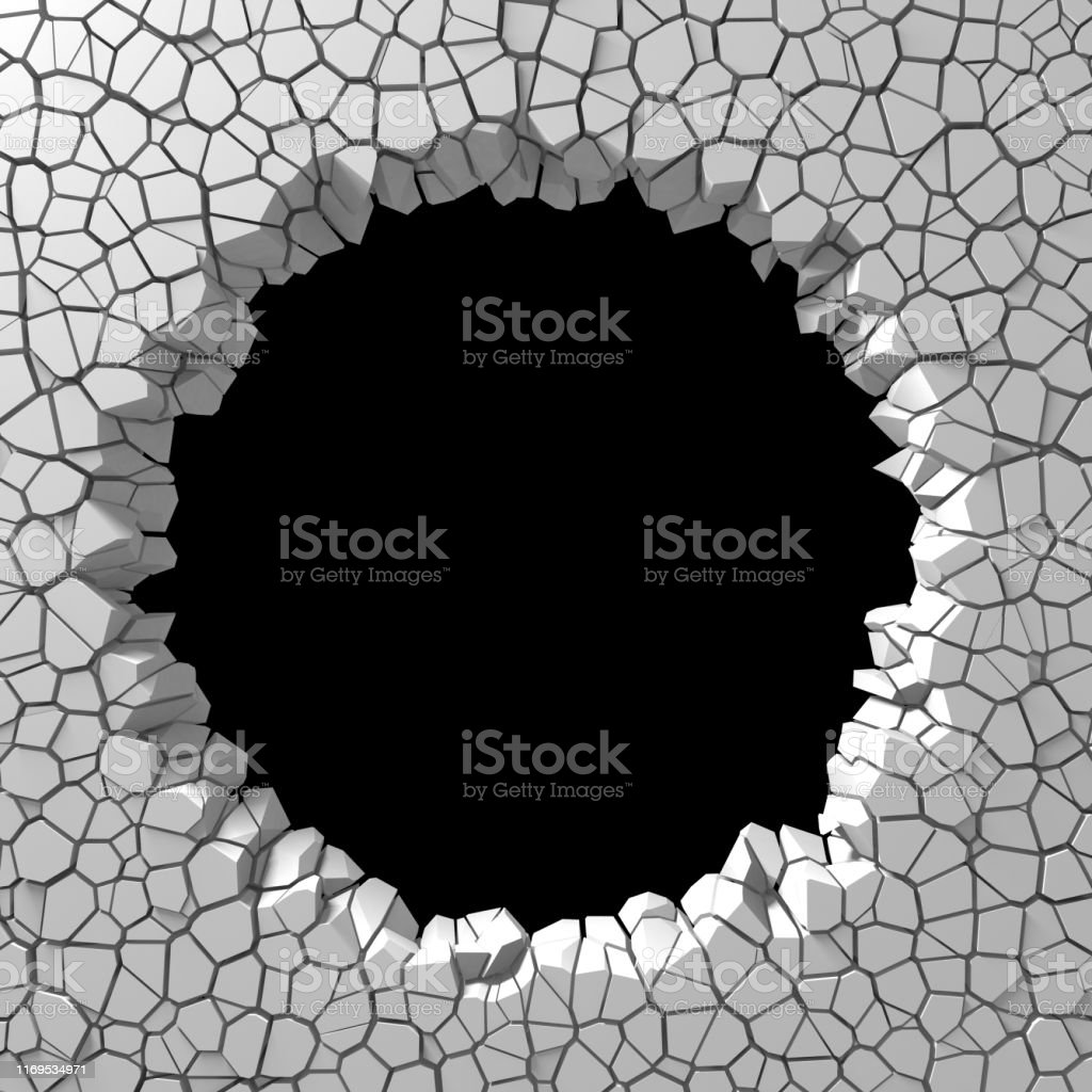 Dark destruction cracked hole in white stone wall. 3d render...