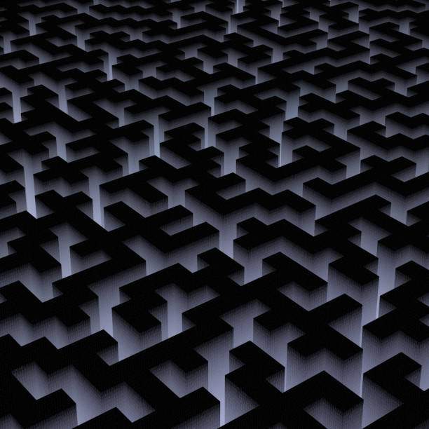 Dark digital labyrinth with binary code. stock photo