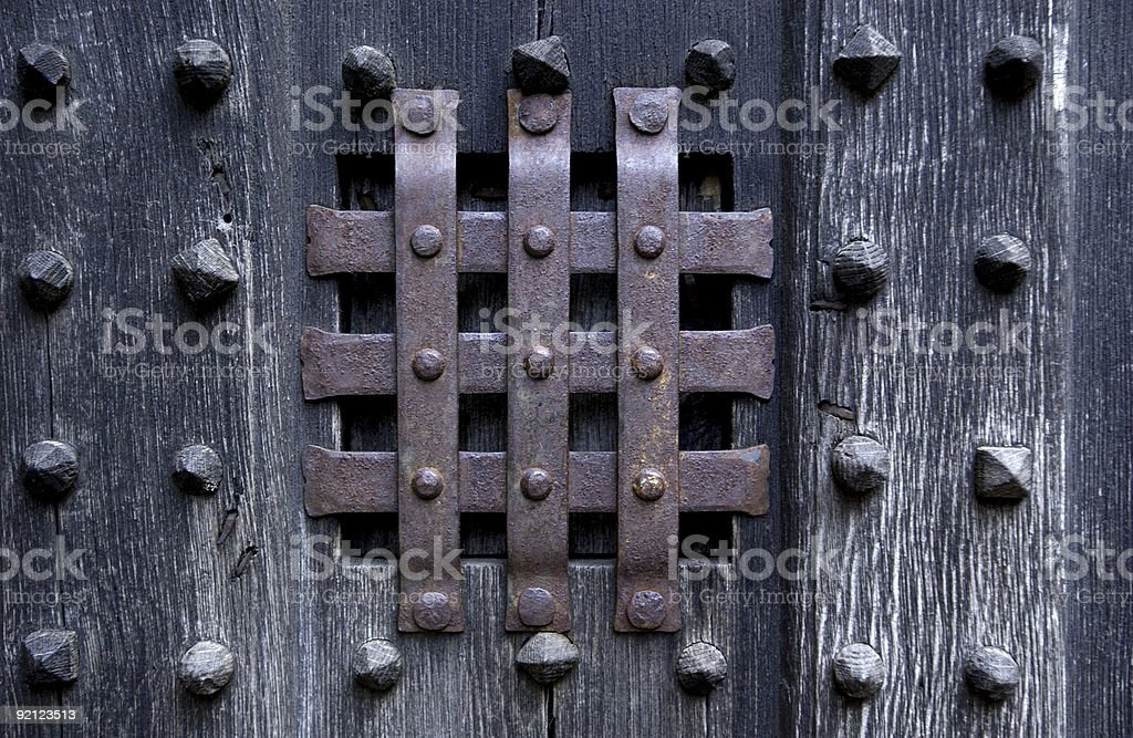 Dark door stock photo