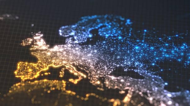 dunkle erde karte mit leuchtenden details der stadt und menschliche bevölkerung dichte bereiche. wiew von europa. 3d illustration - demographie deutschland stock-fotos und bilder