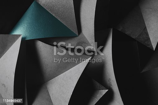 istock Dark elements of paper for futuristic abstract background 1134945437