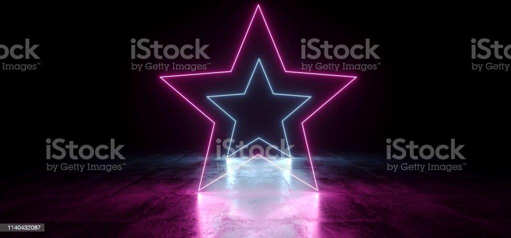 Dark Empty Black Star Shaped Neon Glowing Laser Fluorescent Virtual...