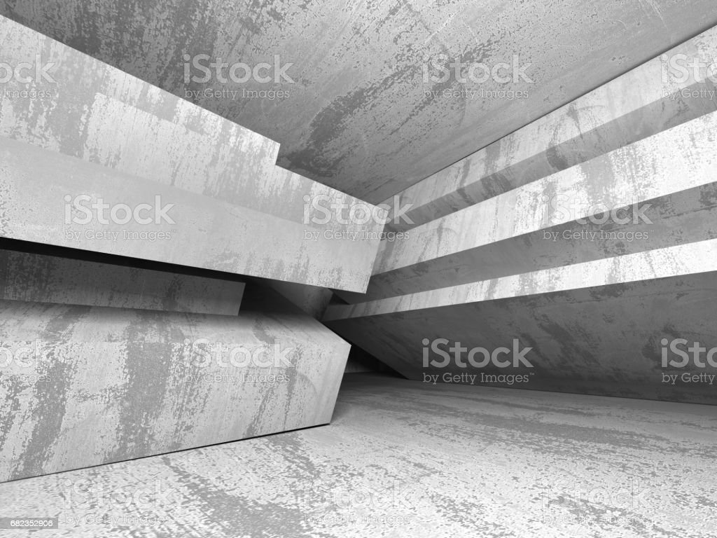Dark empty room. Concrete rusty walls. Architecture background foto stock royalty-free