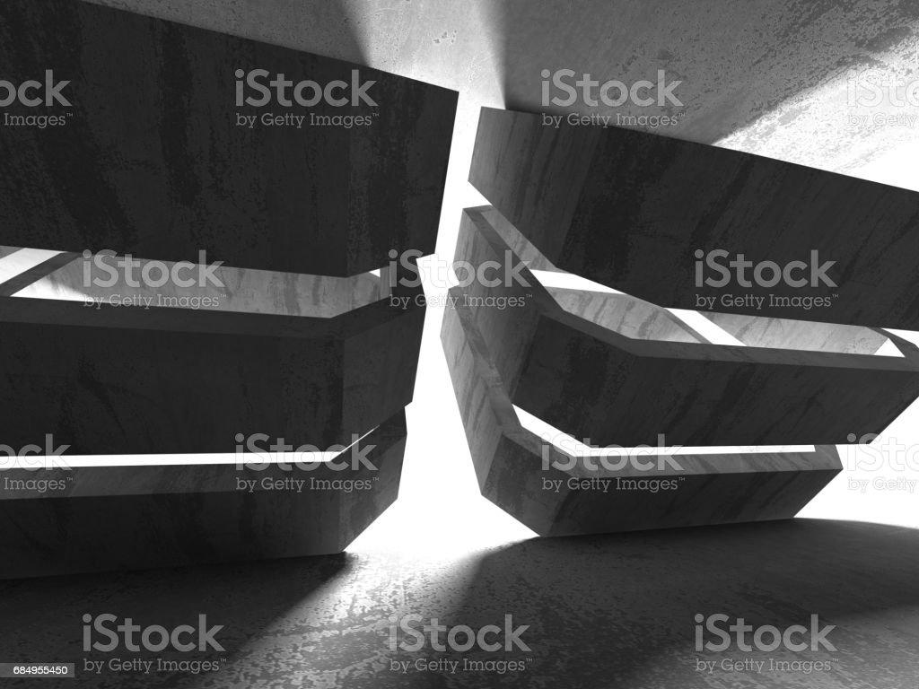 Dark empty room. Concrete rusty walls. Architecture background Lizenzfreies stock-foto