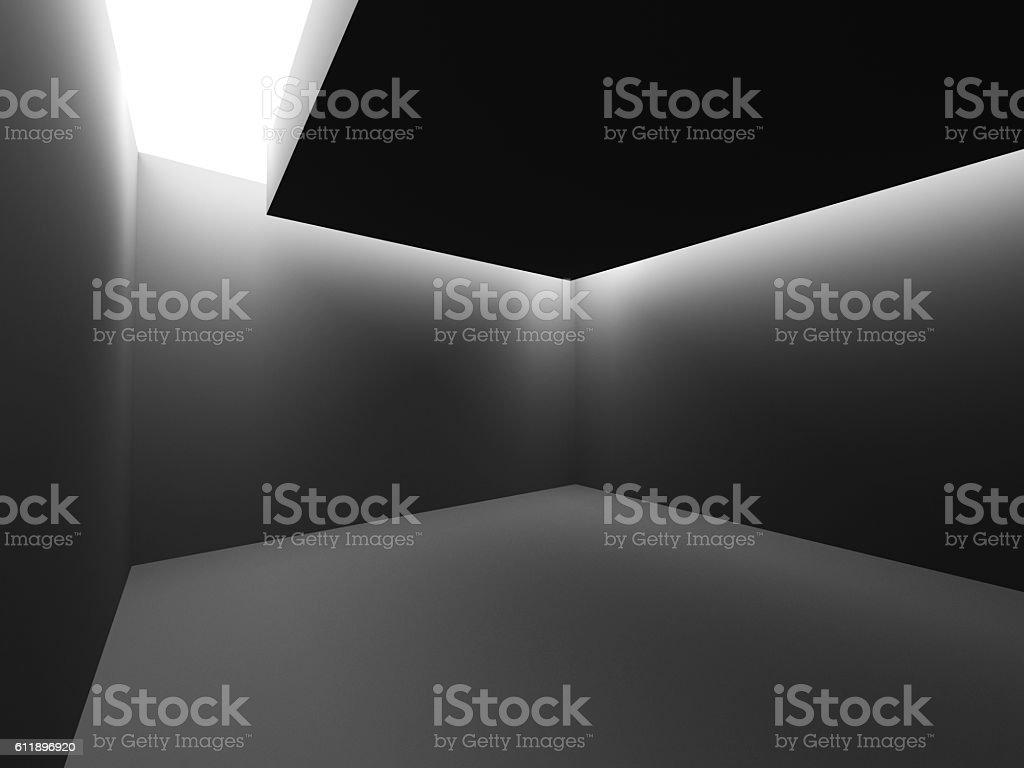 Dark empty room interior with ceiling light – Foto
