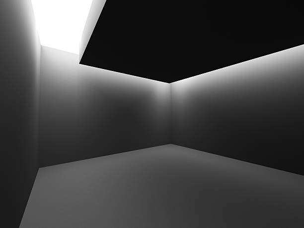 Dark empty room interior with ceiling light – Foto