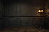 Empty, elegant vintage room at night with copy space