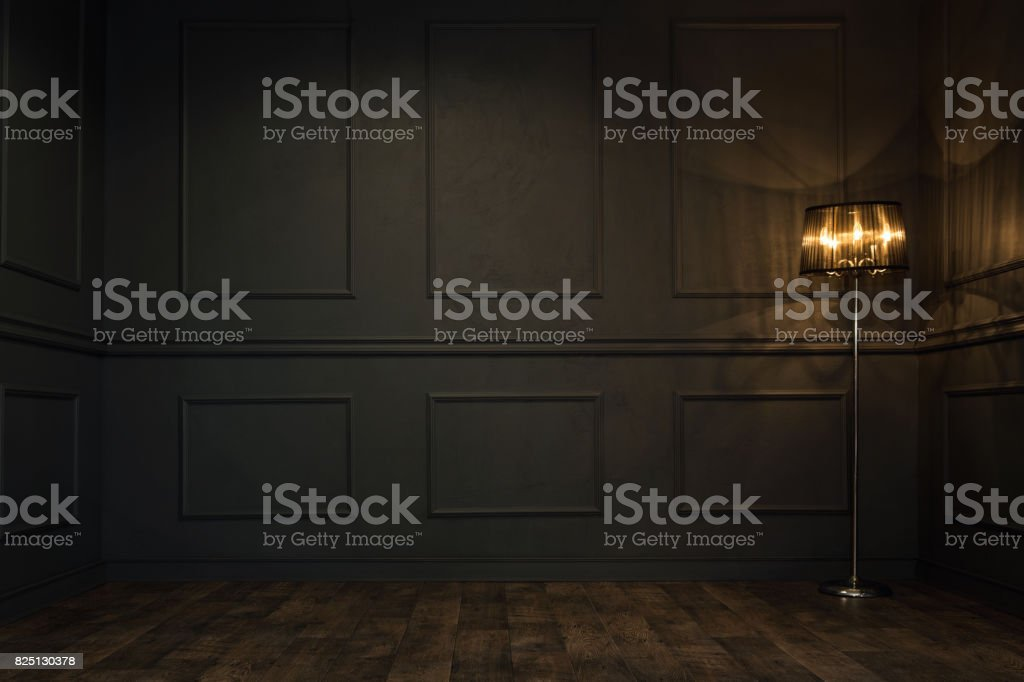 Dark empty room stock photo