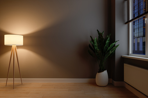 Dark Empty Room With Lamp Shade, Potted Plant And Parquet Floor. Blank Wall Mock Up.