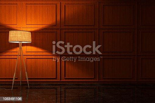 istock Dark Empty Room With Lampshade 1053491106