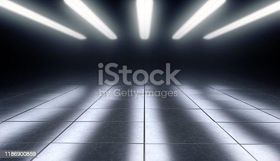 Dark empty room with reflective tiles floor and lights. 3d rendering