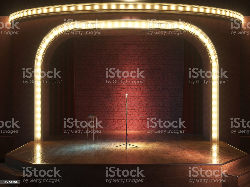 Dark empty stage with microphone. 3d render royalty-free stock photo