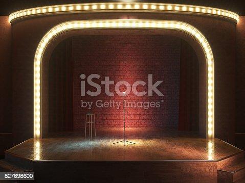 istock Dark empty stage with microphone. 3d render 827698600