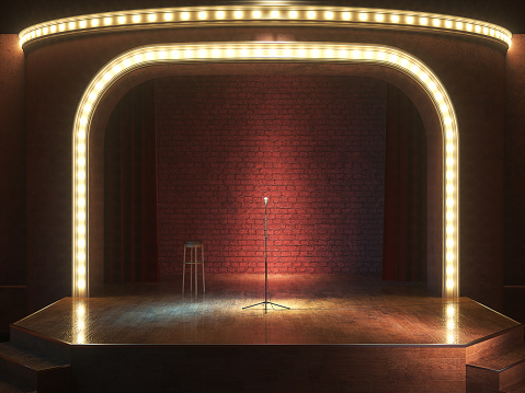 Dark Empty Stage With Microphone 3d Render Stock Photo - Download Image Now