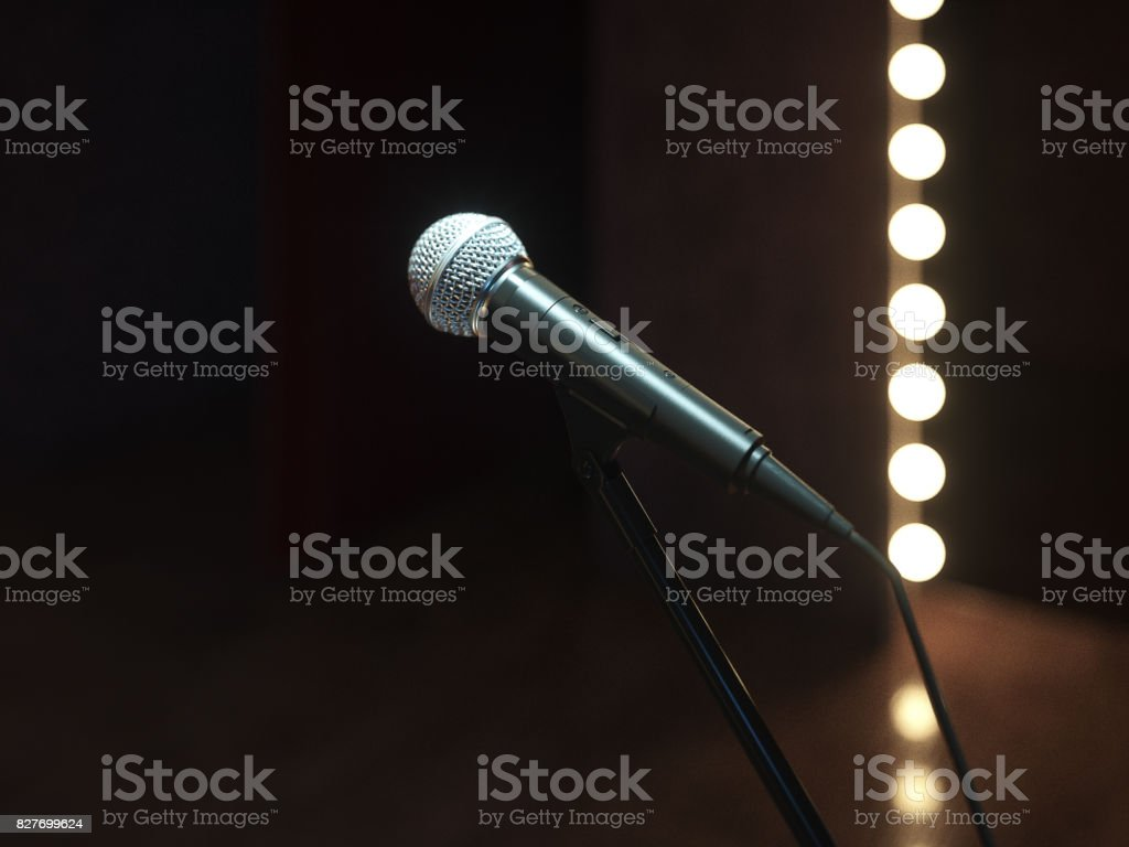 Dark empty stage with microphone. 3d render stock photo
