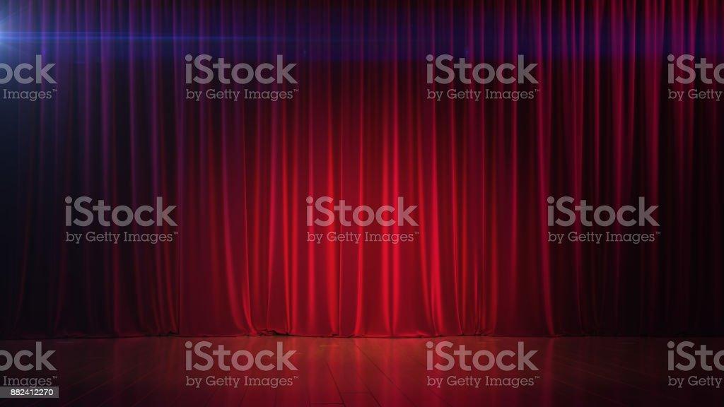 Oscuro escenario vacío con rico cortina roja. 3D render - foto de stock