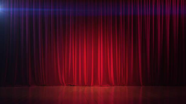 Dunkle Leere Bühne mit reichen roten Vorhang. 3D render – Foto