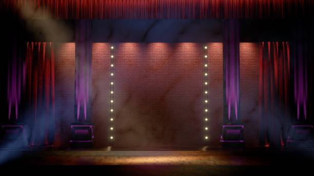 Dark empty stage with spot lights. Comedy, Standup, cabaret, night club stage 3d render Dark empty stage with spot lights. Comedy, Standup, cabaret, night club stage 3d render. verbaasd stock pictures, royalty-free photos & images