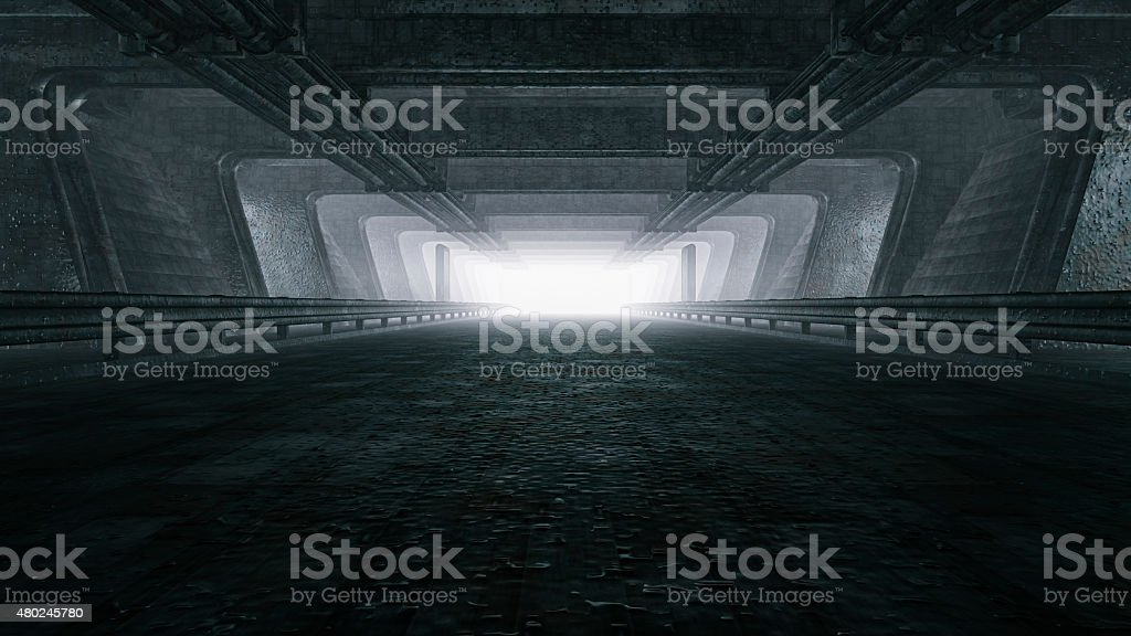 Dark empty tunnel, hangar stock photo