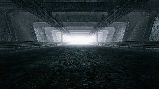 Dark empty tunnel, hangar Dark empty tunnel, hangar. airplane hangar stock pictures, royalty-free photos & images