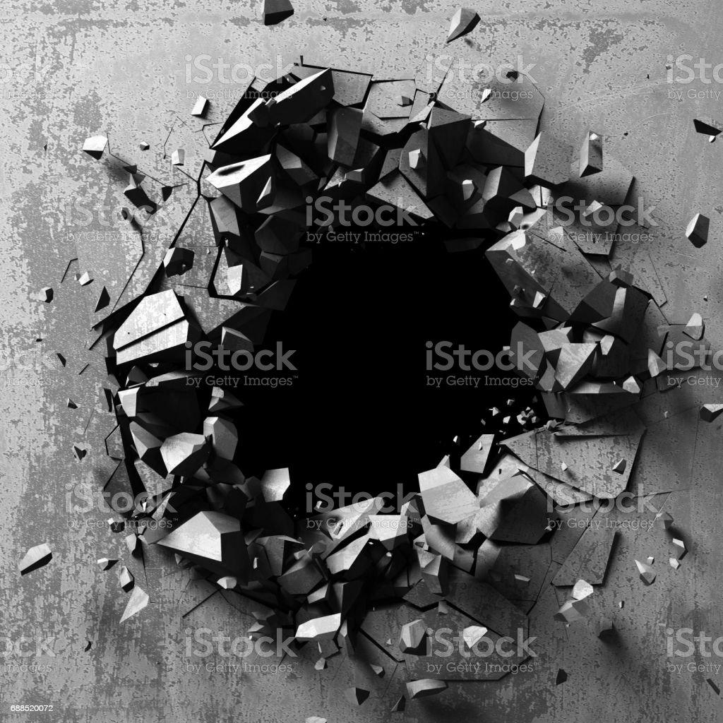 Dunkle Explosion Loch alte Betonwand – Foto