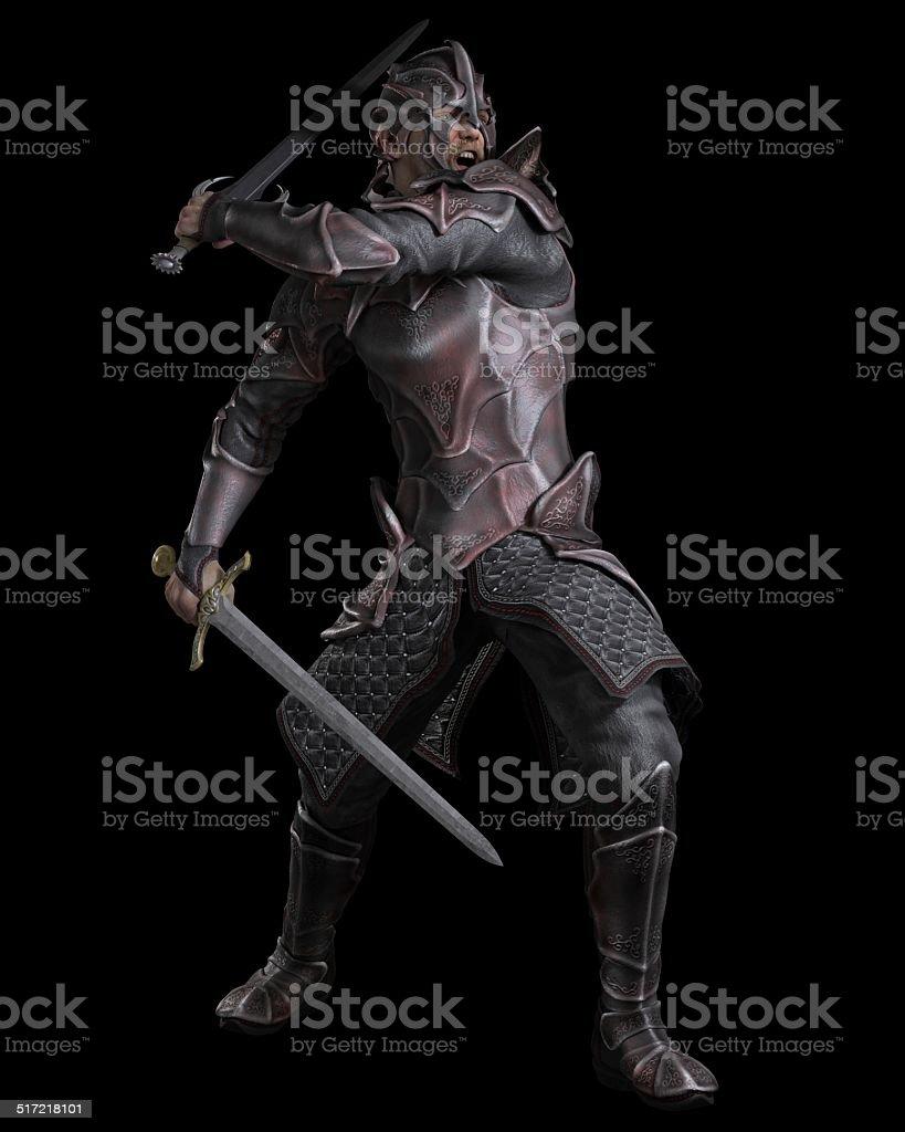 Dark Fantasy Knight with Two Swords stock photo