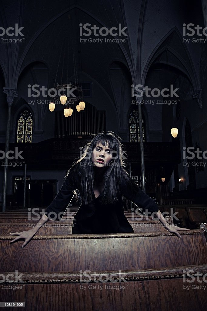 Dark Fashionable Gothic Woman in Old Spooky Cathedral royalty-free stock photo