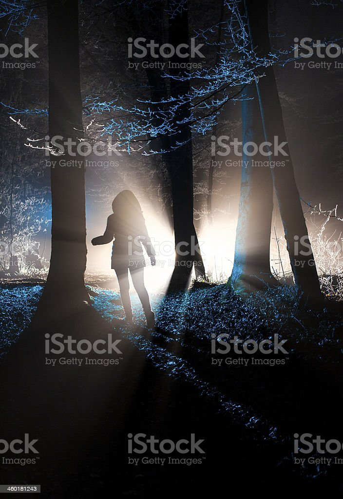 Dark figure in a misty winter forest at night stock photo