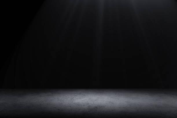 Dark Floor Hintergrund Schwarz Leerraum für ihre Produkte anzuzeigen, schwarze Beton Oberfläche Boden texturiert. – Foto