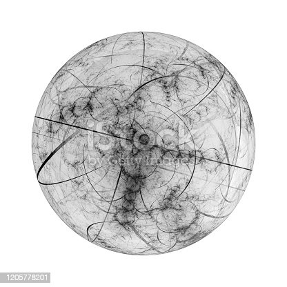 657546096 istock photo Dark fractal ball isolated on white 1205778201