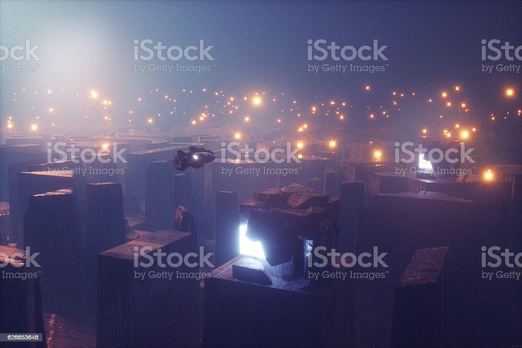 Dark futuristic alien cityscape stock photo