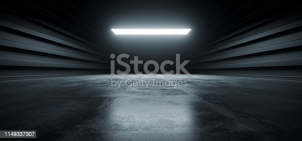 909529832 istock photo Dark Futuristic Modern Garage Showroom Tunnel Corridor Concrete Metal Grunge Reflective Glossy Empty Space White Glow Showcase Stage Underground Hallway Entrance 3D Rendering 1149337307