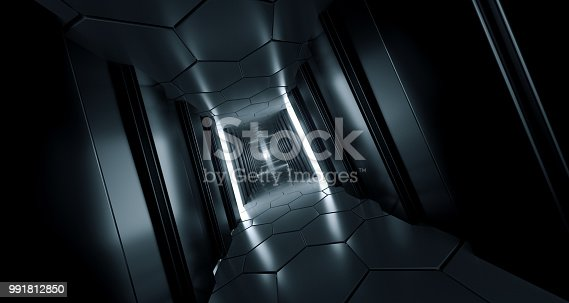 967676748 istock photo Dark Futuristic Modern Sci Fi Reflective Corridor With Reflective Hexagon Floor And Ceiling And Side Lights 3D Rendering 991812850