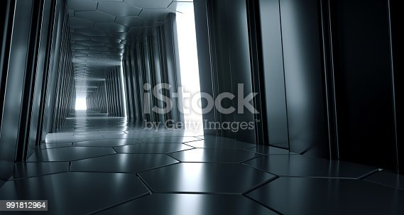 967676748 istock photo Dark Futuristic Modern Sci Fi Reflective Corridor With Reflective Hexagon Floor And Ceiling And Side Lights 3D Rendering 991812964