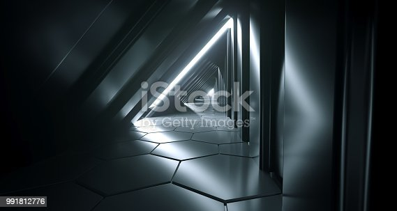 967676748 istock photo Dark Futuristic Modern Sci Fi Triangle Shaped Reflective Corridor With Reflective Hexagon Floor And Side Lights 3D Rendering 991812776