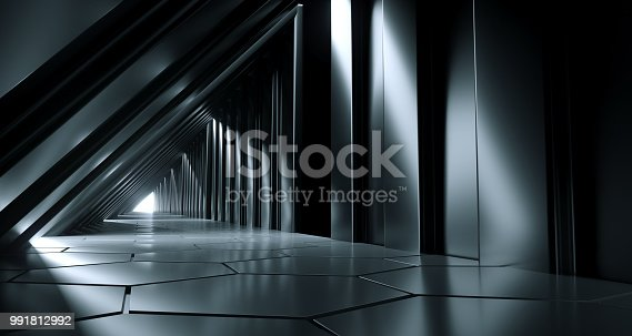 967676748 istock photo Dark Futuristic Modern Sci Fi Triangle Shaped Reflective Corridor With Reflective Hexagon Floor And Side Lights 3D Rendering 991812992