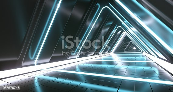 967676748istockphoto Dark Futuristic Triangle Sci-Fi Empty Corridor Room With Neon Lights And Reflections. 3D Rendering 967676748