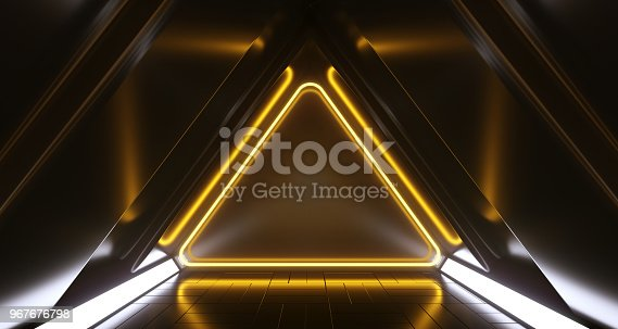 967676748 istock photo Dark Futuristic Triangle Sci-Fi Empty Corridor Room With Neon Lights And Reflections. 3D Rendering 967676798