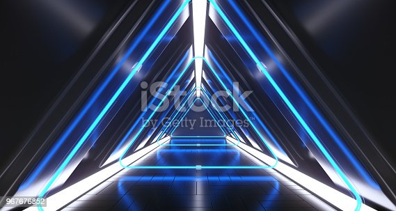 967676748istockphoto Dark Futuristic Triangle Sci-Fi Empty Corridor Room With Neon Lights And Reflections. 3D Rendering 967676852