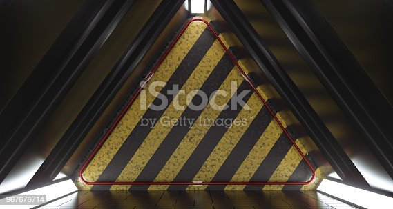 967676748 istock photo Dark Futuristic Triangle Sci-Fi Empty Room With  Hazard Pattern Wall And Reflections. 3D Rendering 967676714