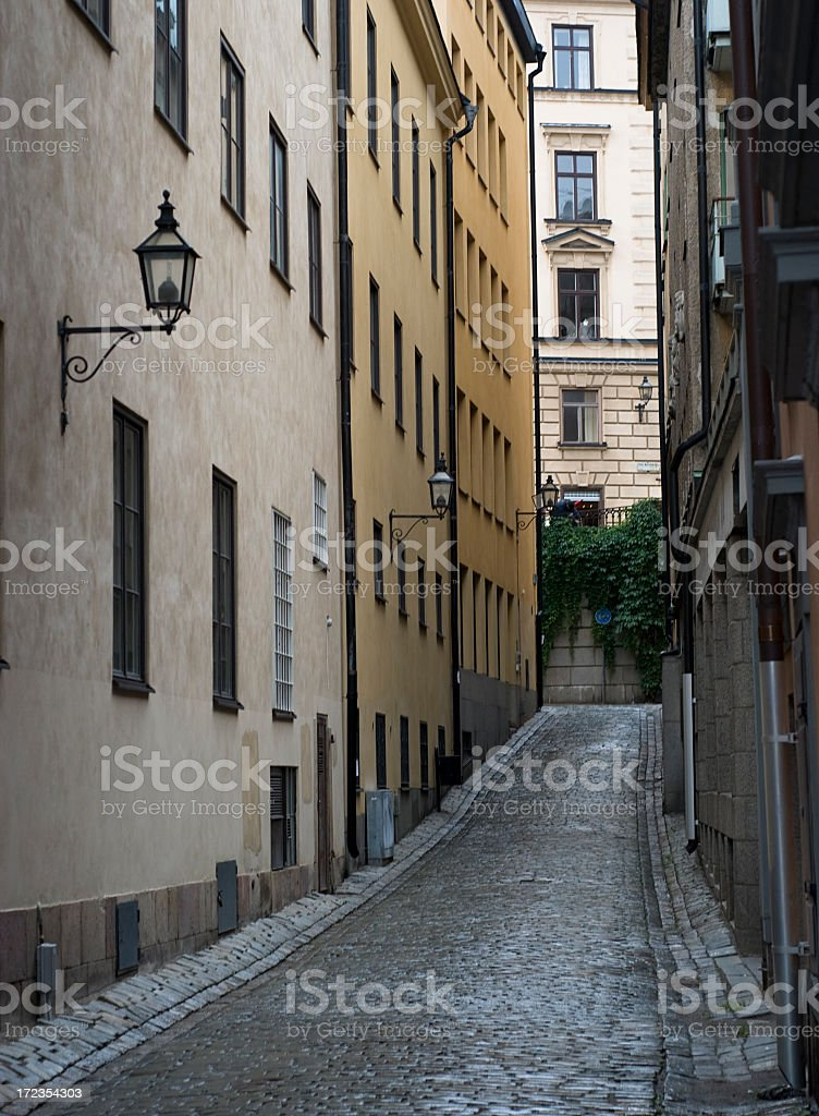 Dark Gamla Stam Alley royalty-free stock photo