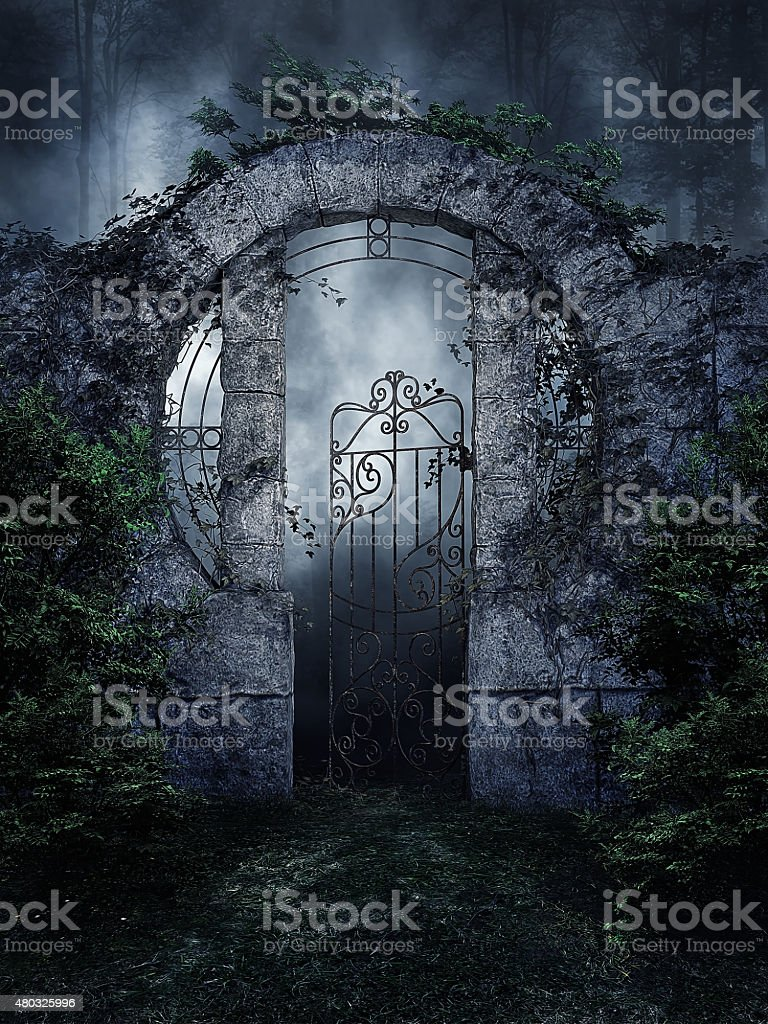 Dark garden gate stock photo
