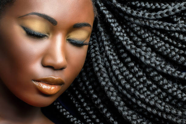 Dark girl beauty portrait with braids. stock photo