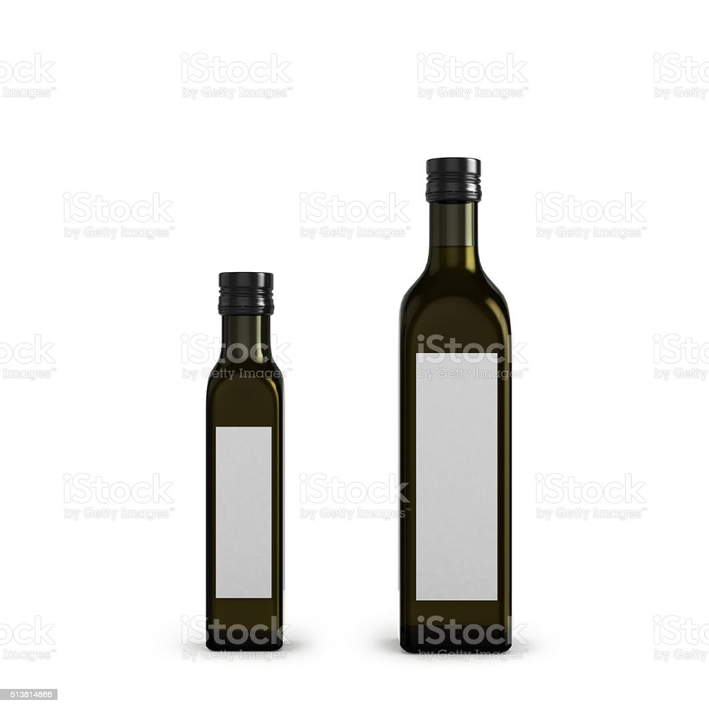 dark glass bottles for olive oil of different sizes isolated stock photo