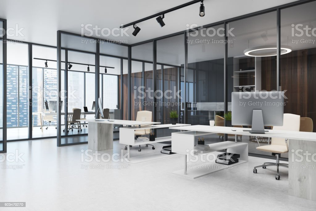 Dark glass wall open space office stock photo