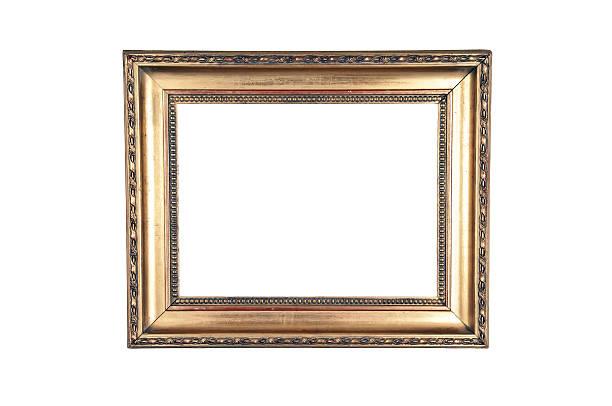 Dark gold design wood frame stock photo